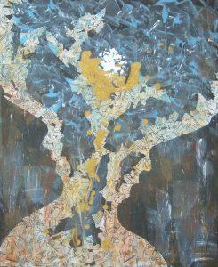 peinture, acrylique, collages, pigments